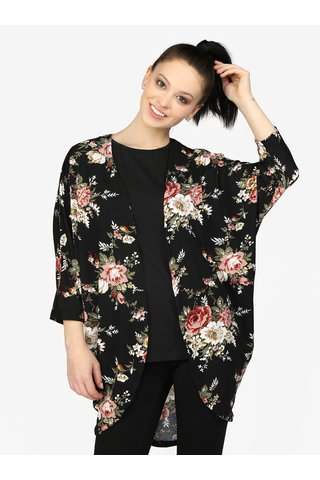 Kimono negru cu print floral si maneci liliac - Haily's Dana
