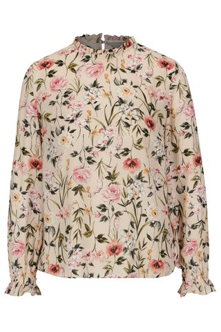 Bluza roz cu print floral si volane discrete la terminatii - Dorothy Perkins Petite