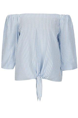 Bluza cu dungi si nod decorativ albastru & crem -  Dorothy Perkins Petite