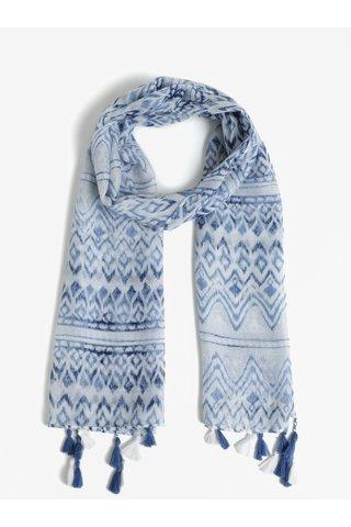 Modrý vzorovaný šátek s třásněmi name it Nussi