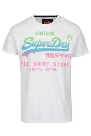 Tricou alb cu print multicolor pentru barbati -  Superdry