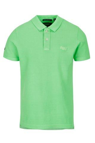 Tricou polo verde neon cu logo brodat pentru barbati - Superdry