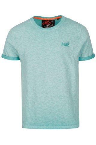 Tricou albastru deschis cu logo brodat pentru barbati - Superdry