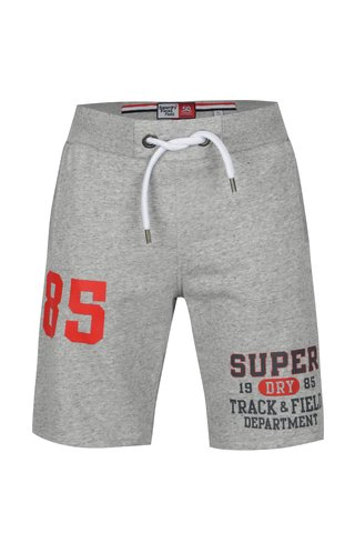 Pantaloni sport scurti gri melanj cu print pentru barbati - Superdry