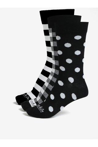 Sada tří párů unisex ponožek v bílo-černé barvě v dárkové krabičce Fusakle