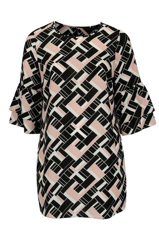 Rochie neagra cu print geometric si volane Dorothy Perkins Curve