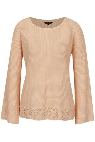 Pulover tricotat roz pal cu maneci clopot - Dorothy Perkins