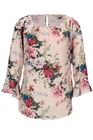 Bluza roz deschis cu print floral si volane - Billie & Blossom