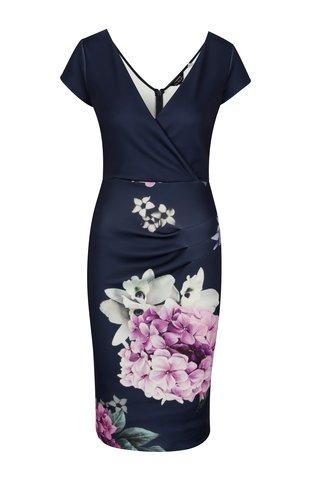 Rochie bodycon bleumarin cu print floral si decolteu suprapus - Scarlett B