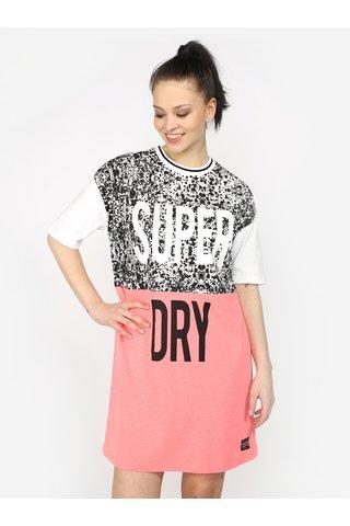 Rochie-tricou boyfriend fit roz neon&alb cu print Superdry