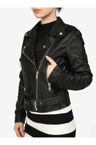 Jacheta biker neagra din piele naturala pentru femei - Superdry
