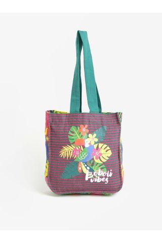 Růžová-zelená plážová holčičí pruhovaná taška s potiskem BÓBOLI