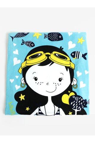 Černo-modrá holčičí ručník s motivem mořské víly BÓBOLI