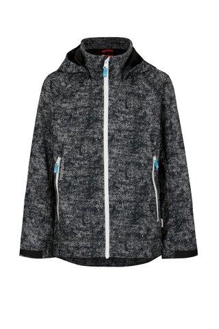 Tmavě šedá klučičí žíhaná voděodolná bunda s kapucí Reima Auger