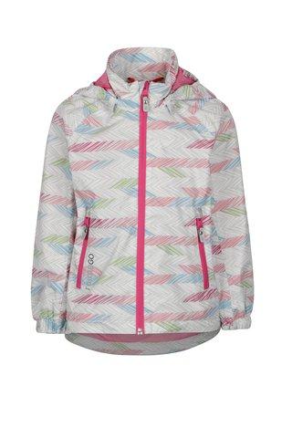 Růžovo-šedá holčičí vzorovaná voděodolná bunda s kapucí Reima Zigzag