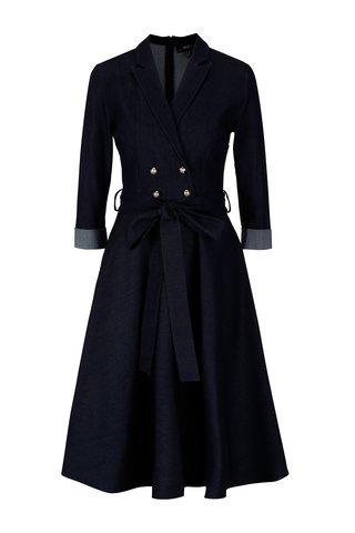 Tmavě modré džínové šaty s 3/4 rukávem NISSA