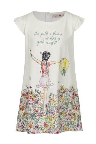 Krémové holčičí květované šaty s potiskem BÓBOLI