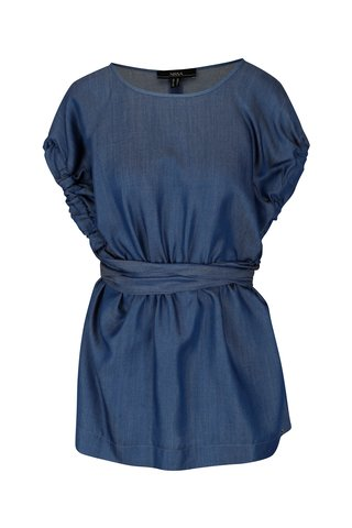 Modrá džínová halenka se zavazováním v pase NISSA
