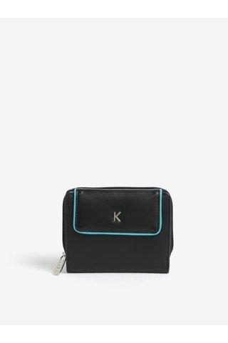 Tyrkysovo-černá dámská kožená peněženka KARA