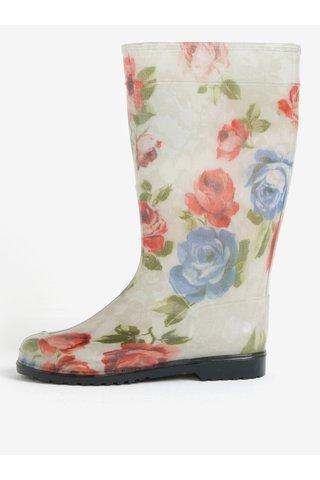 Cizme de ploaie crem cu print floral pentru femei - Oldcom Rain
