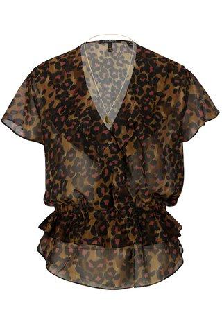 Bluza animal print maro & negru cu colier la gat -  Scotch & Soda