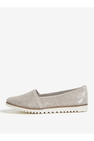 Pantofi slip on gri din piele cu perforatii si aspect stralucitor - Tamaris
