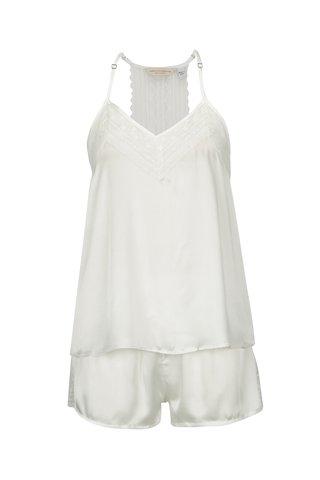 Pijama alba satinata cu top si pantaloni scurti - Dorothy Perkins
