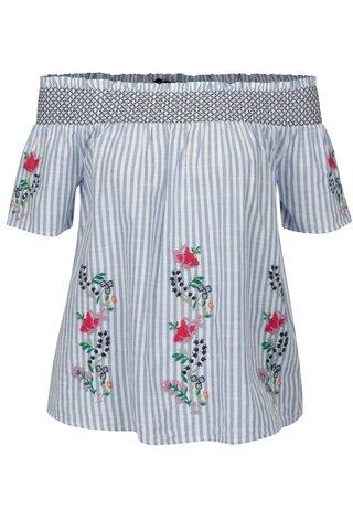 Bluza cu dungi albastru & crem  si decolteu amplu pe umeri -Dorothy Perkins