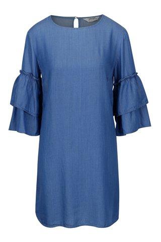 Rochie albastra cu maneci 3/4 cu volane - Dorothy Perkins
