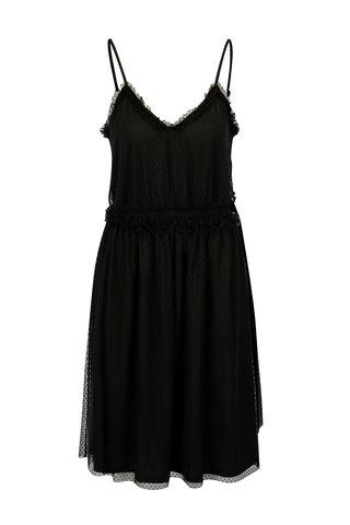 Černé puntíkované šaty na ramínka VILA Mindi