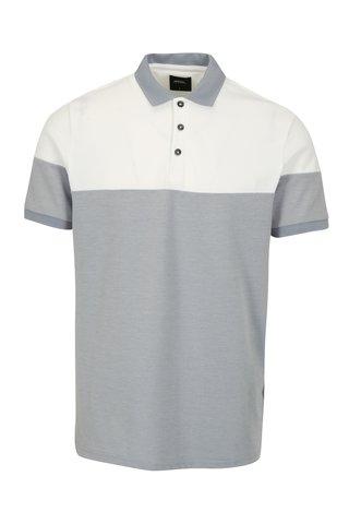 Tricou polo alb & bleu melanj - Burton Menswear London