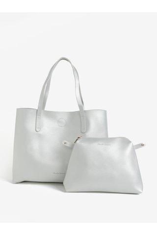 Geanta shopper argintie cu portofel detasabil Claudia Canova Ophelia