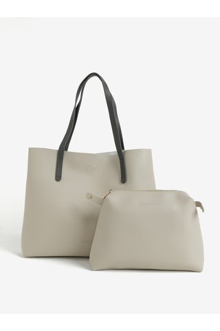 Geanta shopper bej cu portofel detasabil Claudia Canova Ophelia