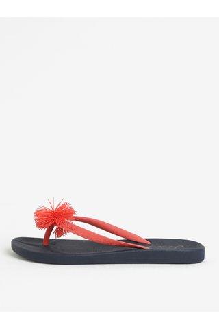 Papuci flip-flop bleumarin cu pom pom Tom Joule