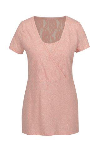 Tricou roz cu insertie de dantela pentru alaptat Mama.licious Elenoir