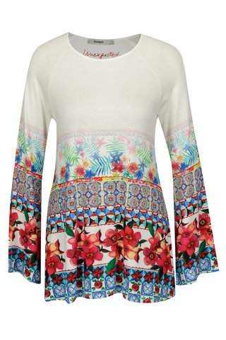 Bluza alba cu print floral si maneci clopot - Desigual Vienna