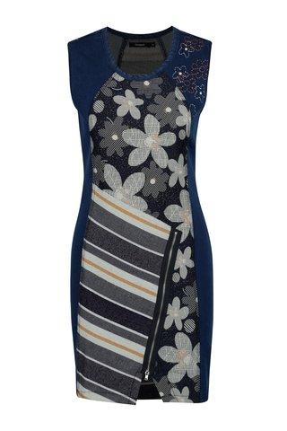 Rochie din denim albastra cu model floral si dungi Desigual No Sleep