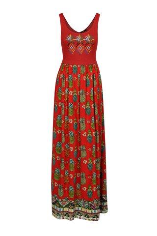 Rochie maxi rosie cu print ananas si top cu aspect stralucitor  -Desigual Bonita 3