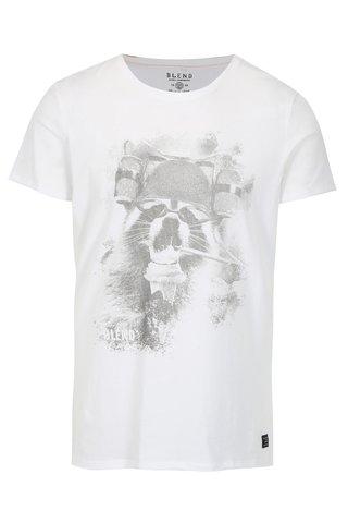 Tricou slim fit alb cu print - Blend