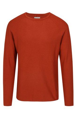 Pulover slim fit rosu caramiziu cu aspect texturat - Blend