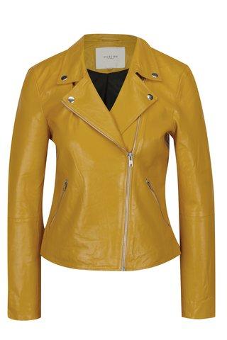 Jacheta biker galbena din piele naturala - Selected Femme Marlen