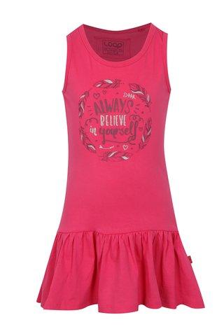 Růžové holčičí šaty s potiskem LOAP Itilina