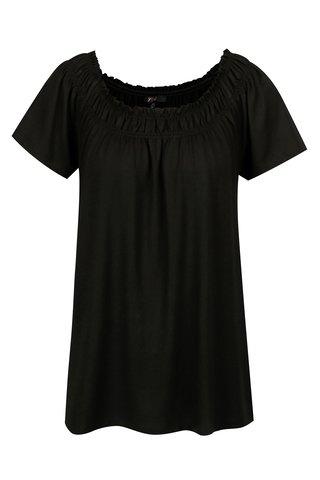 Bluza neagra cu decolteu cu insertie elastica - Yest