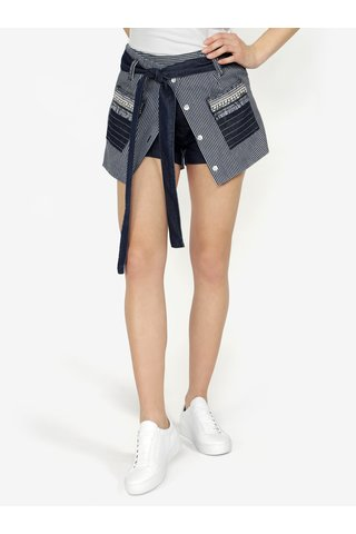 Fusta-pantalon bleumarin in dungi cu broderie Desigual Emilie