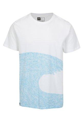 Tricou cu print valuri si cuvinte Dedicated Word wave