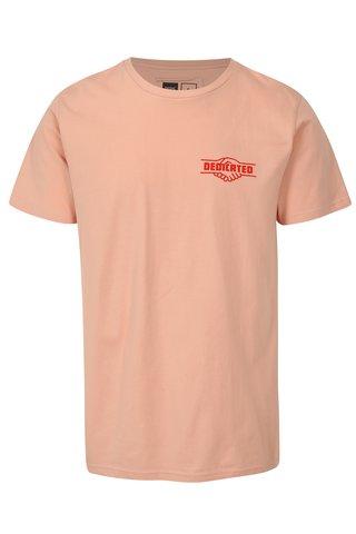 Tricou roz cu print logo Dedicated Good Hands