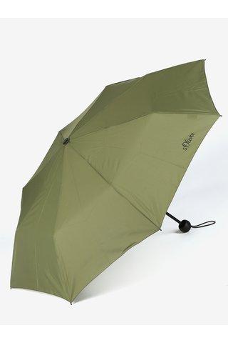 Umbrela pliabila kaki cu print discret - s.Oliver