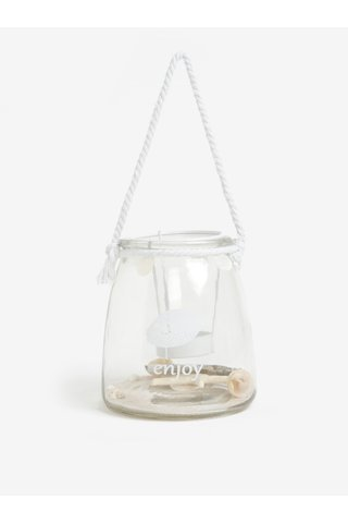 Lampa de sticla cu suport pentru lumanare si scoici Kaemingk