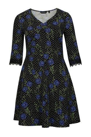 Rochie neagra cu print dublu si dantela Dorothy Perkins Curve