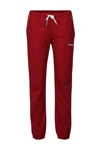 Pantaloni sport roz inchis cu print floral lateral Desigual Sport